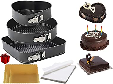 Curated Cart Cake Tin Set of 3, Heart , Round , Square , Xylan Coated Non-Stick Leak Proof, Quick Release Spring Form Cake Pa