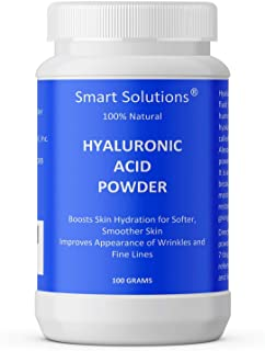 Smart Solutions Pure Hyaluronic Acid Serum Powder, 100 Grams | 100% Natural, Boosts Skin Hydration for Softer, Smoother Skin