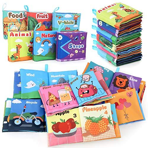 BeebeeRun Libri di Stoffa per Neonati,6 PCS Mio Primo Morbido Libro Giocattoli Educativi Regali,0+ Mesi