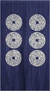 """ChezMax Six Copper Blue Doorway Curtain Japanese-Style Door Way Curtain Panels for Living Room Bedroom Decor Noren Curtain Window Wall Hanging Tapestry 33"""" W x 59"""" L"""