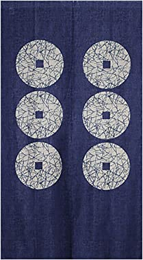 "ChezMax Six Copper Blue Doorway Curtain Japanese-Style Door Way Curtain Panels for Living Room Bedroom Decor Noren Curtain Window Wall Hanging Tapestry 33"" W x 59"" L"