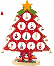 ZEONKIT German Style 11inch Wooden DIY Christmas Tree for Desk Tabletop with Small Decorative Accessories (red)