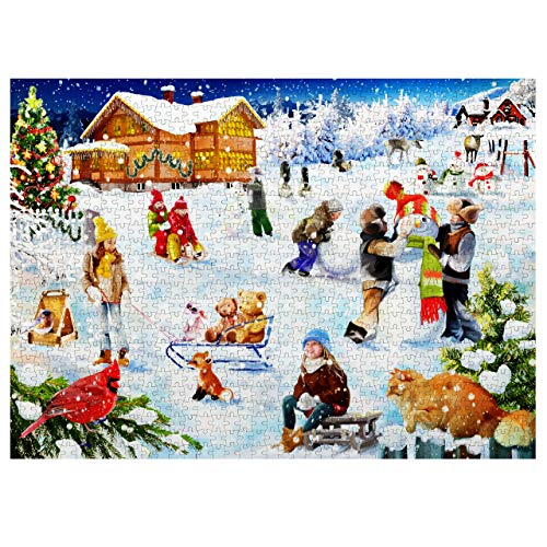 1000 Piezas Puzzle de Navidad, 70x50cm| Piezas de Rompecabezas Resistentes y de Premium| Actividad Divertida, Desafiante y Educativa, Regalo Cumpleaños Navidad para Niños Adultos.