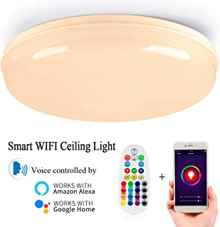 Autai Smart WiFi LED Ceiling Lights 24W RGBW 12-Inch LED Flush Mount Ceiling Lamp Dimmable Color Tunable 2700K - 6000K Multicolored Lights, Work with Alexa Echo, Google Home and Siri