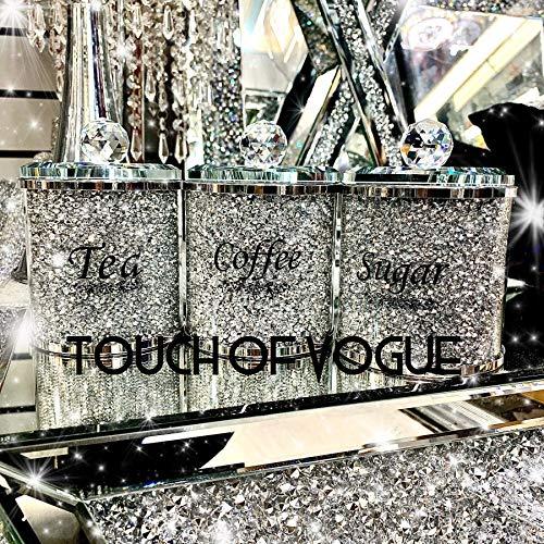 Touch of Vogue Aufbewahrungsdosen mit Diamantsplittern für Tee, Kaffee, Zucker, Silberfarben, 17 cm