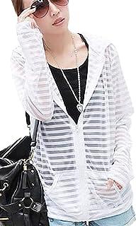 [サコイユ] 【在庫処分セール】 パーカー M~6XL 薄手 長袖 シースルー フード付 ジップアップ 透け感 レディース