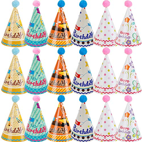 BESTZY 18pcs Gorros de Fiesta Sombreros del Cono de La Fiesta de Cumpleaños Con Poms para Los Cabritos y Los Adultos Fiesta Bienvenida al Bebé Favores (Color La Mezcla)