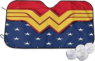 ESCFLAG Car Windshield Sunshades Superhero Wonder Woman Car Sunshade Auto Windshield UV Rays Protector Foldable Sun Reflector Shades Visor Shield Cover with Suction Cups 30x55 Inch