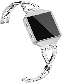 Wearlizer Replacement Metal Bands for Fitbit Blaze Band for Women with Frame Large Small Accessories Silver Rose Gold Black