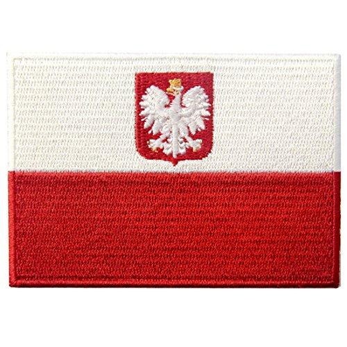 Bandiera della Polonia Emblema Nazionale Termoadesiva Cucibile Ricamata Toppa