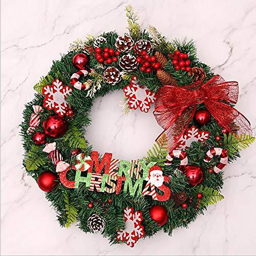 Light kerstkrans voor deur, kerstboomdecoratie, kerstslinger, kerstdecoratie, buiten met kleerhangers