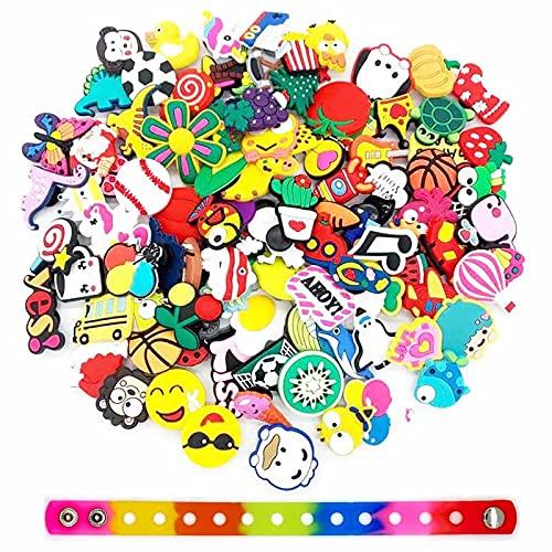 QAZW Charms para Hombres Mujeres Niños, Encantos de Decoración para Zapatos Pulsera Pulsera, Zueco Pins Accesorios Charms para Adolescentes Fiesta Regalos de Cumpleaños,A-100PCS