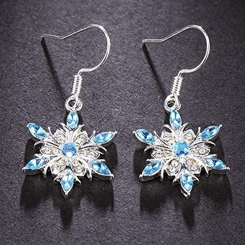 ZYJ Neue Elegante Blaue Zirkon Schneeflocke Tropfen Ohrringe Damen Weihnachtsschmuck Ohrringe Tropfen Ohrringe,A