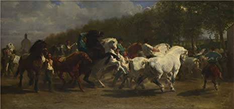 'Rosa Bonheur And Nathalie Micas The Horse Fair ' Oil Painting, 12 X 26 Inch / 30 X 65 Cm ,printed On Polyster Canvas ,this Beautiful Art Decorative Canvas Prints Is Perfectly Suitalbe For Bar Artwork And Home Decor And Gifts