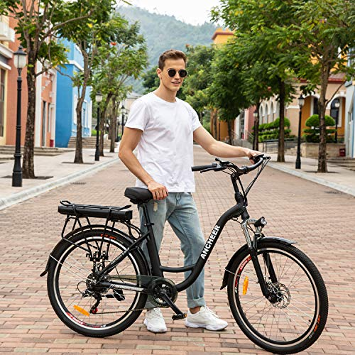 """ANCHEER 26"""" Bici Elettrica, Ebike Città con Batteria Rimovibile 12,5 Ah Integrata nel Telaio Posteriore 35 Miglia Freni a Doppio Disco (ebike da Città - Nero)"""
