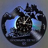 Harry Potter Vinyl Schallplatten Wanduhr LED Light 12 'Vinyl CD Quarzuhr | Ostergeschenk an Freunde | Die Hogwarts Express Handmade Interior Home Decor | Hängelampe 7 Farbe leuchtende Wanduhr.