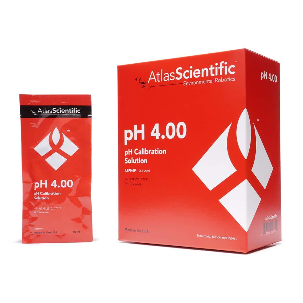 Atlas Scientific pH 4.00 Calibration Pouches Elegant Box 25 Chicago Mall of Solution
