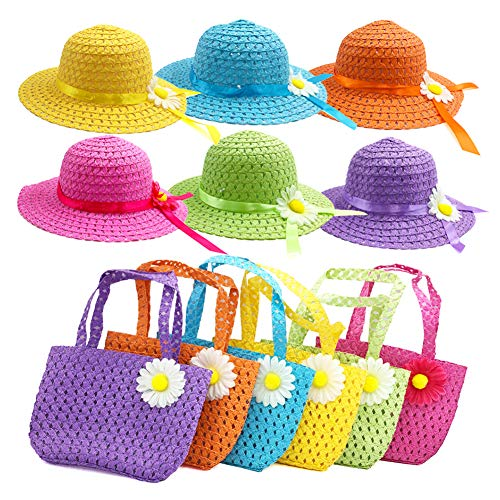 6Sets Girls Tea Party Straw Sun Hat and Purse Sets Kids Child Birthdays Easter Party Daisy Flower Sunflower Summer Beach...