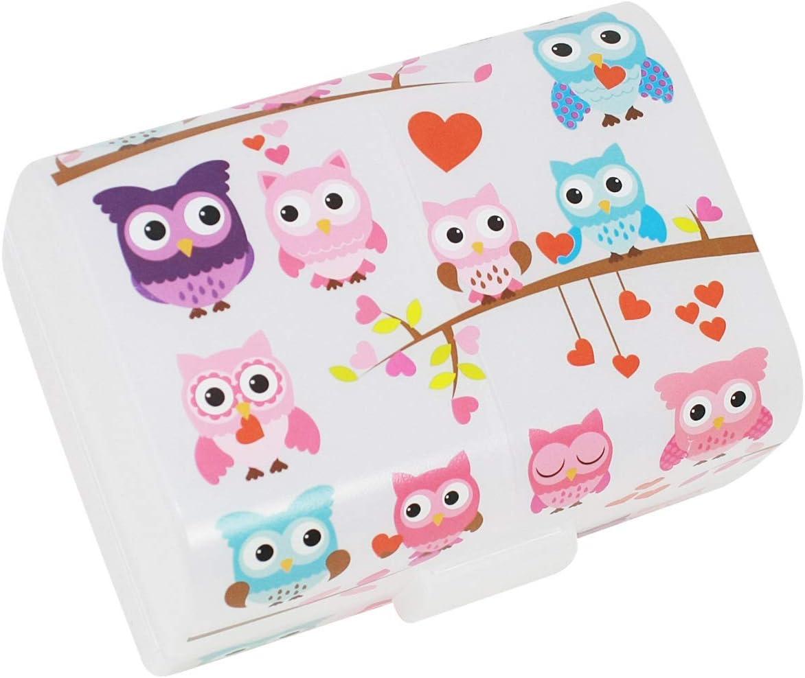 """com-four® Brotdose""""Eulen"""" für unterwegs – Lunchbox mit 3 Fächern – Frühstücksbox 17 x 13 x 10 cm (001 Stück -""""Eulen"""")"""