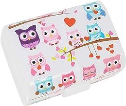 """COM-FOUR® lunchbox""""Uilen"""" voor onderweg - lunchbox met 3 vakken - ontbijtbox 17 x 13 x 10 cm (001 stukjes -""""uilen"""")"""