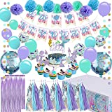 Mermaid Party Supplies - Girls Birthday Party Decorations, Contain a Mermaid Banner, 9 Tissue Pom Poms, 2 Foil Curtains, 15 Tissue Tassels, 2 Dot Garland, a Mermaid Table Cloth, 12 Cupcake Toppers and Balloons, Great for Girls Birthday Party