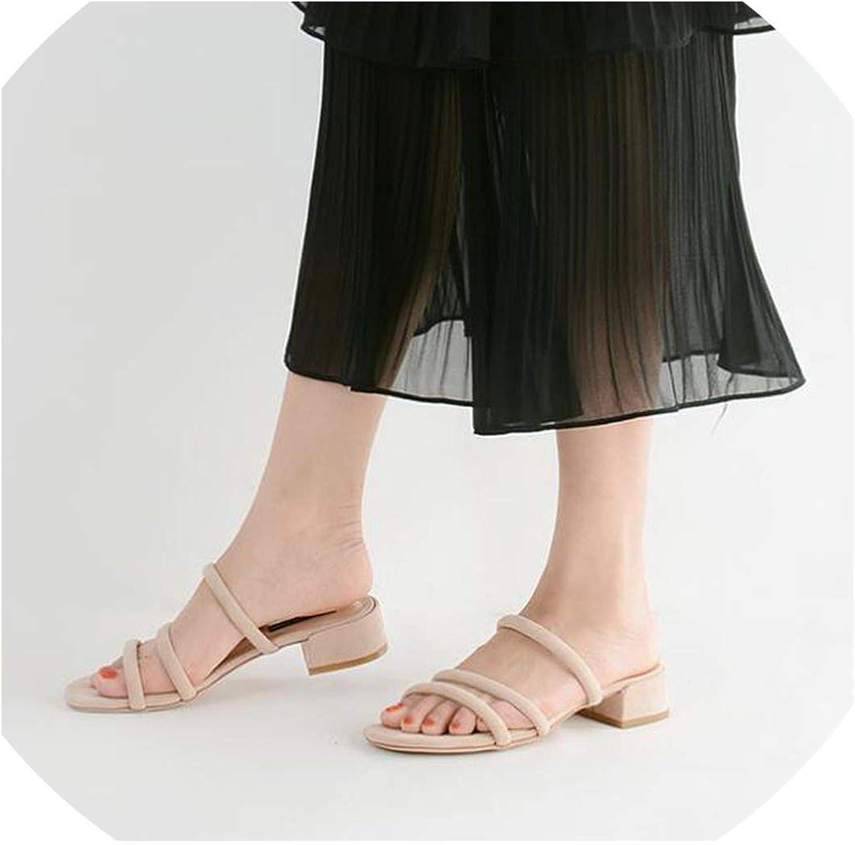 Boom-moon Slippers Women Square Heel Sandals shoes Woman Flip Flops