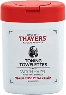 Thayers Alcohol Free Witch hazel Rose Petal TONING TOWELETTES with Aloe Vera, 30 Towelettes