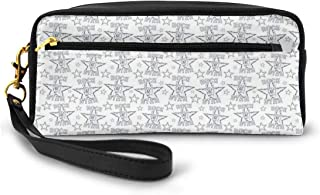 Pencil Case Pen Bag Pouch Stationary,Greyscale Rockn Roll Design With Detailed Sign Of Horns Thorny Stars Pattern,Small Makeup Bag Coin Purse