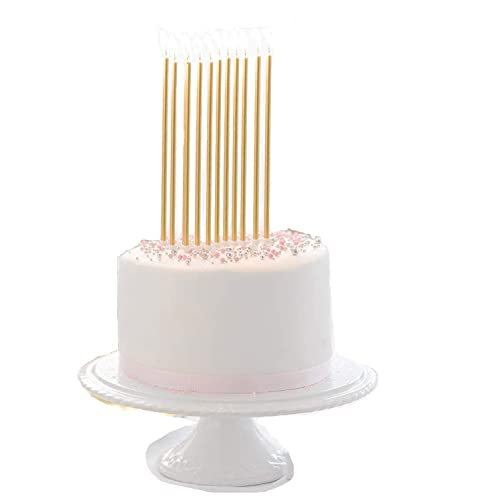 24 Count Party Long Thin Cake Candles Metallic Birthday In Holders For Cakes Cupcake