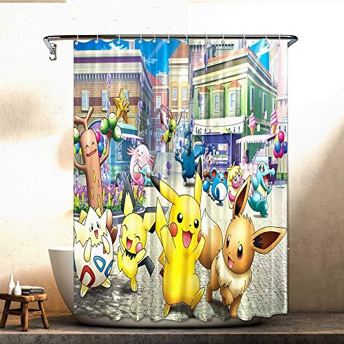 Heat Pok_emon Duschvorhang Anime Merchandise Anime Duschvorhang für Badezimmer Dusche Badewannen 183 x 183 cm