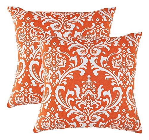 TreeWool, (Lot de 2 Damask Design Motif décoratifs Housses de Coussin en Toile de Coton (40 x 40 cm / 16 x 16 inches, Orange)
