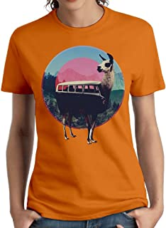 Wxf Womens Llama Train Sell Like Hot Cakes Fashion T-Shirt Orange