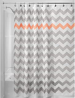"iDesign Fabric Chevron Shower Curtain for Master, Guest, Kids', College Dorm Bathroom, 72"" x 72"", Gray and Coral"