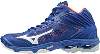 MIZUNO V1GA190500 Wave Lightning Z5 MID Men's Volleyball Shoes, Blue/White/Orange