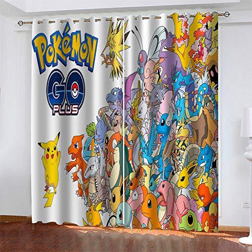 Meer 2er-Set Verdunkelungs Vorhang,Anime Pokemon Pikachu Kinder Gardinen Ösen Gardine Thermo Polyester Schlafzimmer Vorhänge Dekoratives Muster Européen 166 x 150 cm (HxB)