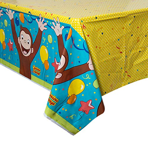 "54"" x 84"" Curious George Birthday Party Plastic Table Cover"