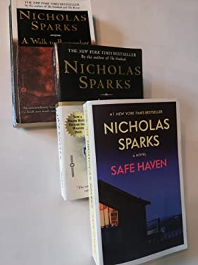 Set of Three Romance Novels by Nicholas Sparks: Message in a Bottle (1999), A Walk to Remember (2000); and Safe Haven (2012)