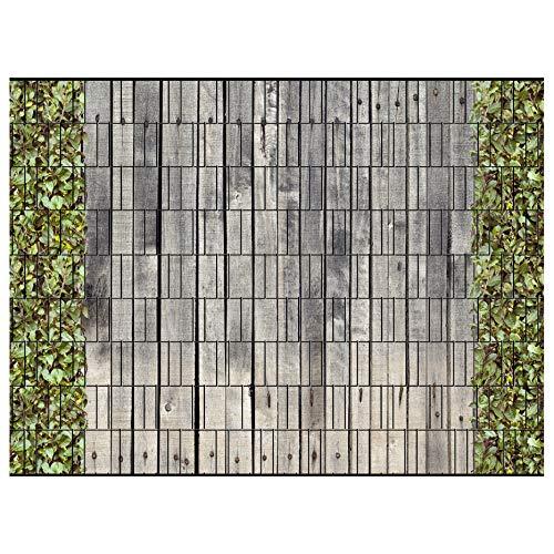 PerfectHD Zaunsichtschutz | 30 Motive | Sichtschutzstreifen für Doppelstabmattenzaun | Windschutz Sonnenschutz Blickdicht | 2,50m x 1,80m | 19cm | 9 Streifen | Holzwand und Kirschlorbeer