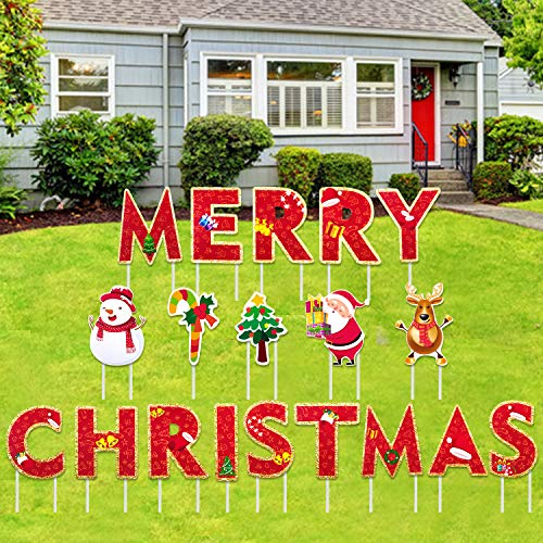Iceyyyy 19Pcs Merry Christmas Yard Sign with Stakes - 8 Inch Christmas Letters Yard Outdoor Lawn Yard Signs Xmas Holiday Winter Yard Home Sign Decorations