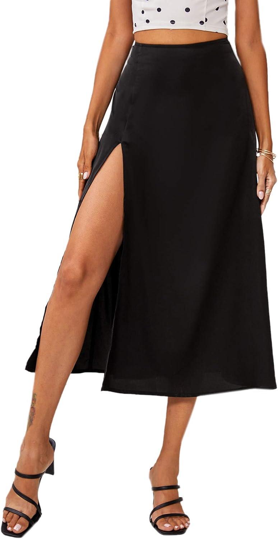 MakeMeChic Women's Solid Split Thigh High Waist Long Skirt Flare Skirts