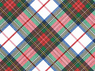 Tartan Wrapping Paper (Classic White, Red & Blue Tartan Plaid Gift Wrap) for Christmas & All Occasions, 24