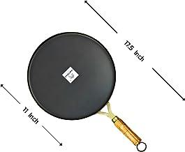 Craftenka Iron Tawa for Dosa, Roti, Chapati with Wooden Handle, Loha/Lokhand Dosa/Amboli Tawa Flat Dosa Pan (11 Inch/28 cm)