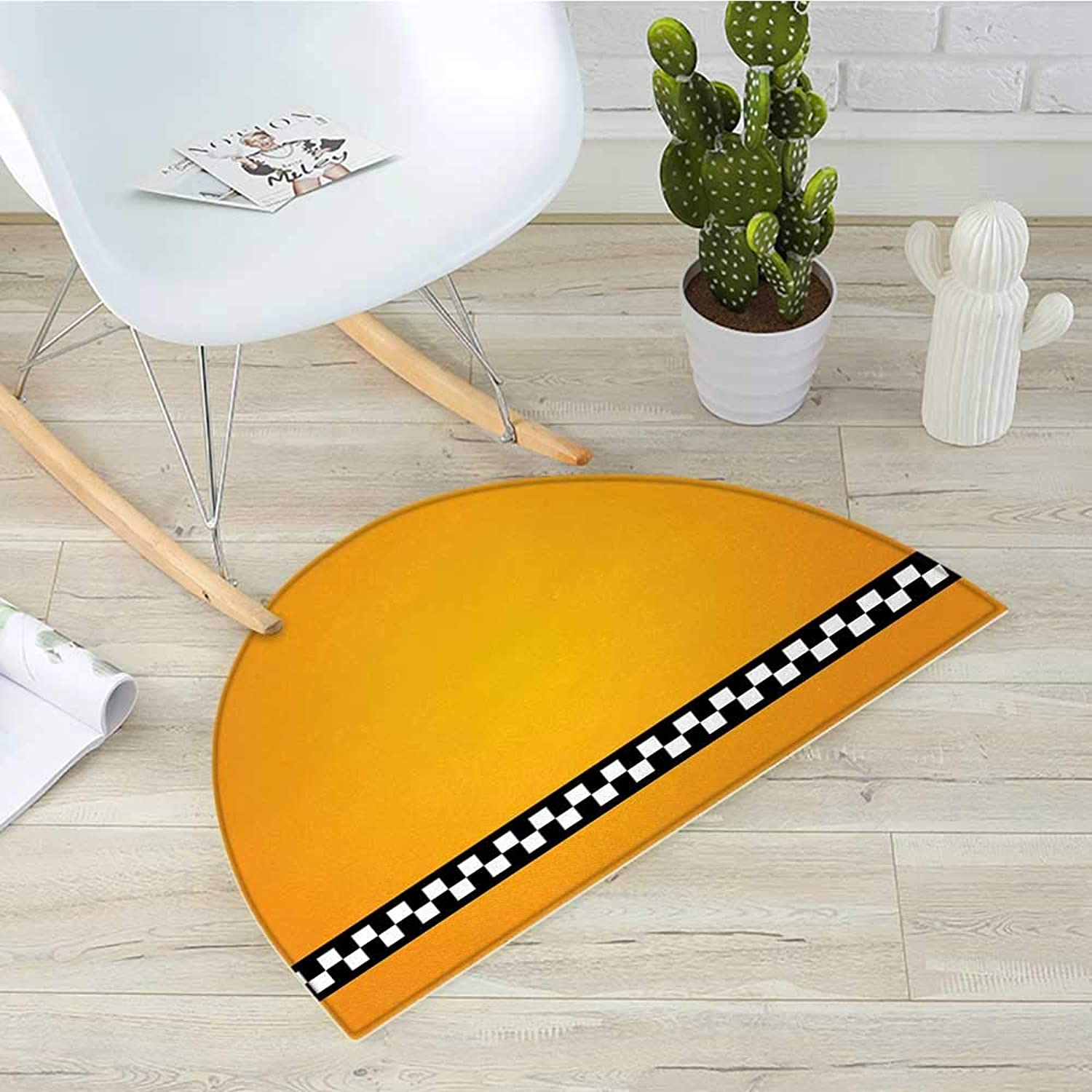 Yellow Semicircular CushionTaxi Cab Car Yellow with The line of Checkers Classical Artistic Print Entry Door Mat H 31.5  xD 47.2  orange White and Black