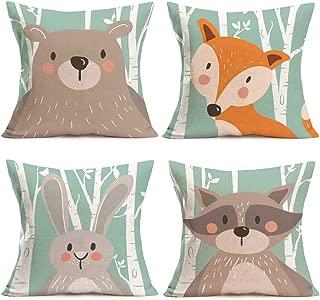 Fukeen Set of 4 Throw Pillow Cases Cartoon Animal Woodland Decorative Cotton Linen Cushion Cover Bear Fox Rabbit Home Baby Room Decor Standard Pillowcase 18x18 Inches