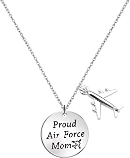 Airforce Mom Gift Proud Air Force Mom Necklace Airplane Charm Military Deployment Gift Long Distance Relationship Necklace for Mother