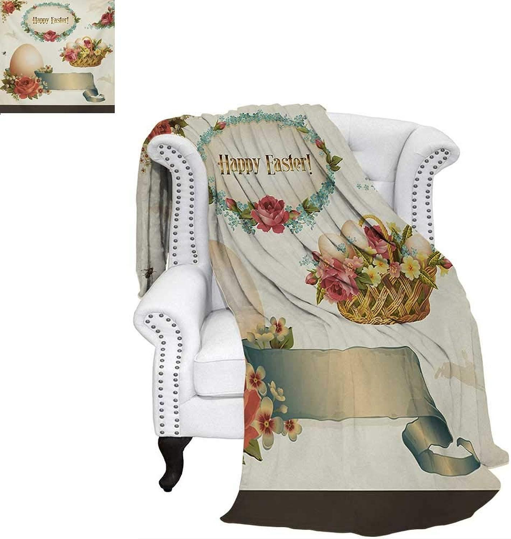 Warmfamily Easter Oversized Travel Throw Cover Blanket Romantic Flower Filled Basket Eggs Vintage Design Inspiration Nostalgic Pattern Super Soft Lightweight Blanket 60 x50  Multicolor