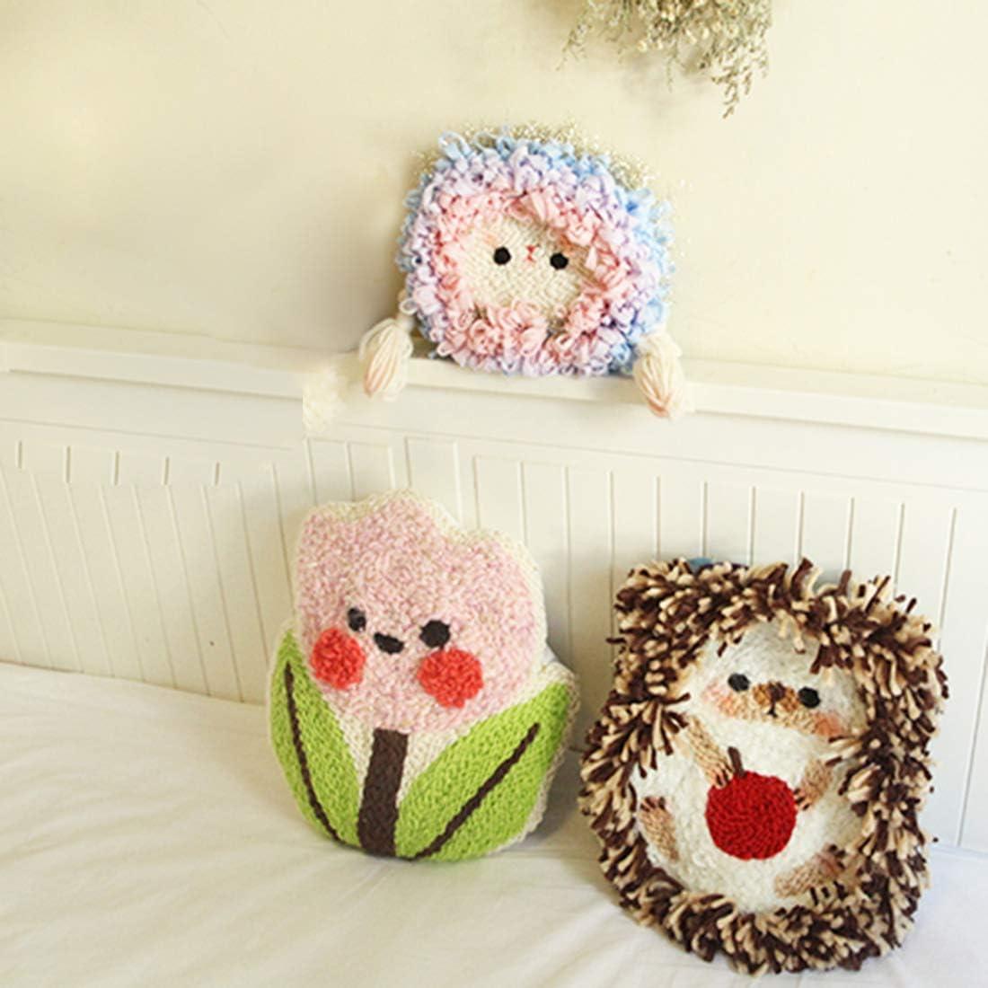 XSHION Flower Small Pillow Latch Hook Kit for Kids DIY Handcraft Punch Needle Starter Kit Woolen Embroidery Rug Hooking Kit for Bedroom Kids Room,Gift for Girls