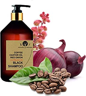 Black Shampoo Champú Anticaída Natural con Café Ricino Keratina y Extracto de Cebolla Detox Champu Acelerador 250 ml Sin ...