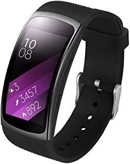 Compatible Samsung Gear Fit2 /Fit2 Pro Band,Soft Silicone Replacement Strap Sport Band Bracelet Wristband Samsung Fit2 SM-R360 /Fit 2 Pro SM-R365 SmartWatch Fitness (New Black)