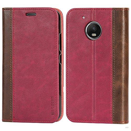 Mulbess Handyhülle für Motorola Moto G5 Hülle Leder, Motorola Moto G5 Handytasche mit BookStyle Flip Hüllen Schutzhülle für Motorola Moto G5 Hülle, Wein Rot